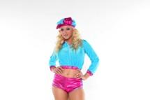 Blond leya has fun as a 70 s roller skater girl Blond hottie Leya has fun as a 70's roller skater girl .